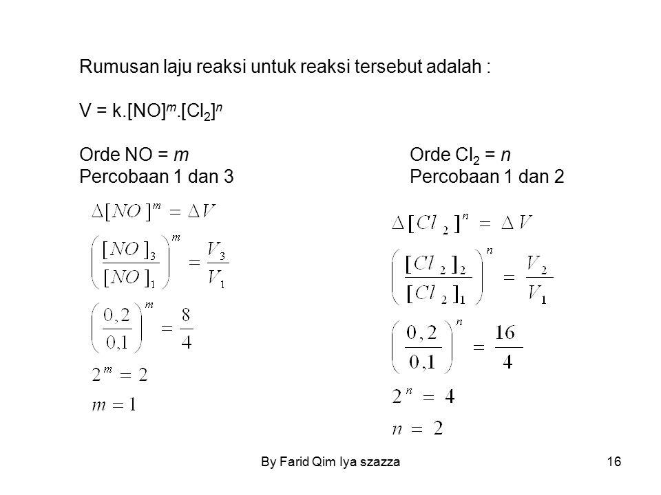 Rumusan laju reaksi untuk reaksi tersebut adalah : V = k.[NO]m.[Cl2]n